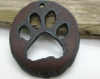 Large Paw Print Pendant, Rusty Iron Pendant, Wolf Paw Pendant, Pet Pendant, 60x42mm (1)
