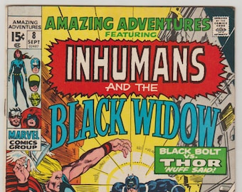 Amazing Adventures (featuring the Inhumans and Black Widow); Vol 2, 8, Bronze Age Comic Book. VF (8.0). September 1971. Marvel Comics