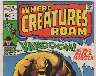 Where Creatures Roam Vol 1, 4, Bronze Age Horror Comic Book.  January 1971. FN/VF (7.0).  Marvel Comics