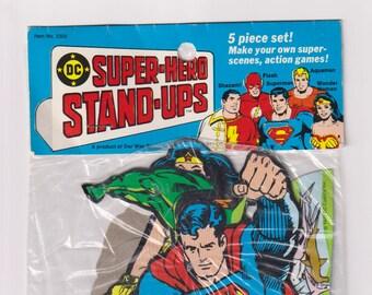 1977 Factory Sealed Super-Hero Stand-Ups. DC Comics Superman, Shazam, Flash, Aquaman, Wonder Woman, Paper Ephemera. Our Way Studios