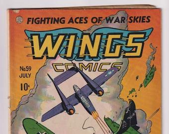 Wings Comics; Vol 1, 59, Golden Age War Comic Book. GD+ (2.5). July 1945. Fiction House.