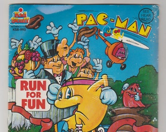 1980 Pac-Man Run for Fun Read-Along Story Book and 45 RPM Record, KSR 995. Factory Sealed. Kid Stuff Records and Tapes