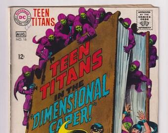Teen Titans; Vol 1, 16, Silver Age Comic Book. VG/FN (5.0). August 1968. DC Comics