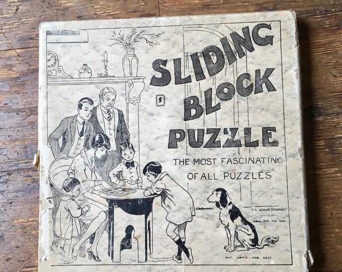 1927 Wooden Sliding Block Puzzle / Game. Complete with original box. S. S. Adams Novelty Company