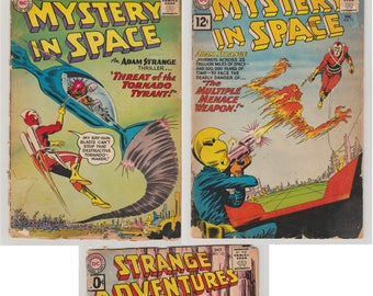 Silver Age Horror/ Sci-fi DC Comic Lot. Strange Adventures 133, Mystery in Space 61 and 72. Reader Conditions. 1960 - 61. DC Comics
