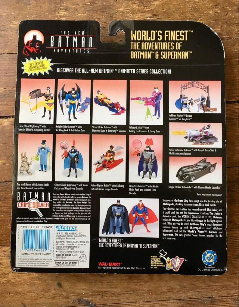 1998 The New Batman Adventures, Wal-Mart Exclusive, World's Finest Two Pack  Batman and Superman Action Figures  Carded  Kenner Inc