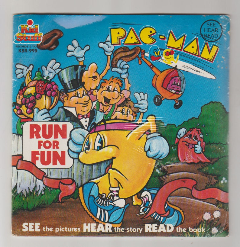 1980 Pac-Man Run for Fun Read-Along Story Book and 45 RPM image 0