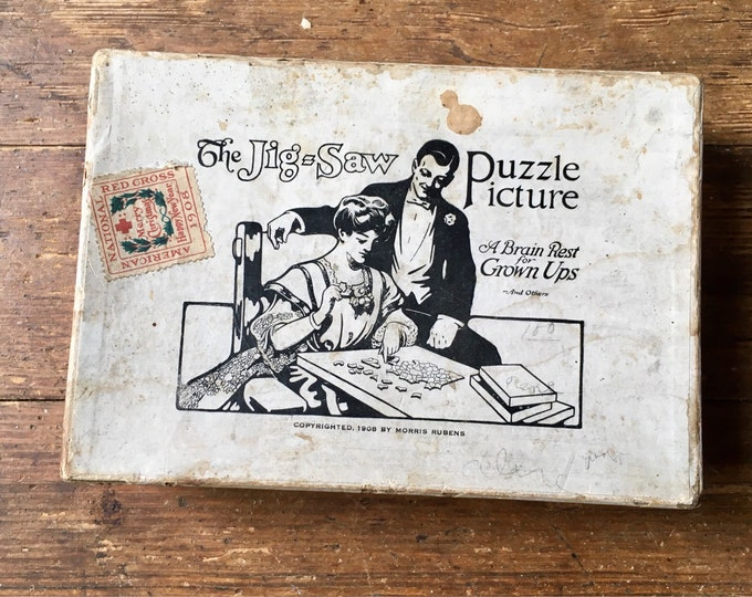 1908 The Jig-Saw Puzzle Picture, 100 piece Victorian Jig Saw Puzzle, with Red Cross Christmas Stamp. Rare and Unique. R & U Specialty Co.