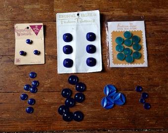 1950's and 60's Vintage Blue Button Lot. Fashion-Tone, Le Chic Post War Era buttons. Various Manufacturers
