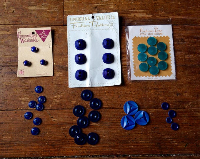 1950's and 60's Vintage Blue Button Lot. Fashion-Tone, Le Chic Post War Era buttons. Various Manufacturers