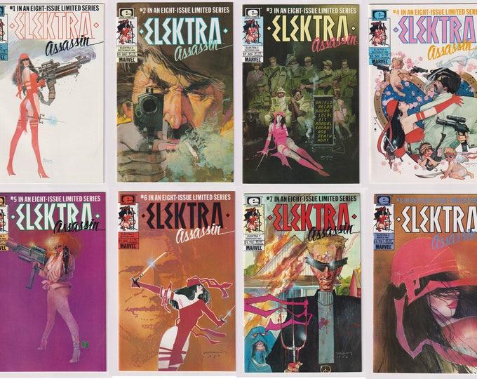 Elektra: Assassin, Vol 1, 1 through 8 Copper Age Limited Series Comic Book Lot.  NM (9.2 - 9.4) Range.  1986. Epic Comics (Marvel Comics)
