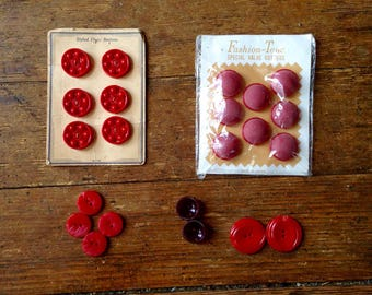 1950's and 60's Vintage Red Button Lot. Post War Era, Fashion-Tone. B. Blumenthal and Co.