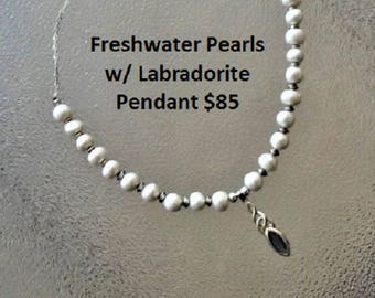 Freshwater pearls with Labradorite SS Pendant