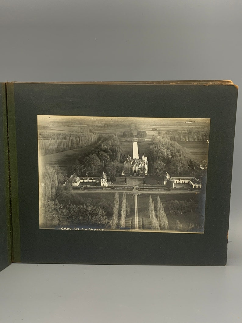 Scarce pre WW1 BI Plane Arial Silver gelatin Photographic print collection of 60 French Chateau\u2019s /& Castles in Volume bond book!
