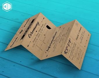 Printable Wedding Invitation 4 Panel Fold / Brown Craft Paper / Detachable RSVP / Hearts Arrows Rustic Theme
