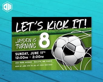 Soccer - Let's Kick It! Birthday Invitation | 5x7 or 4x6 | Soccer Ball Theme
