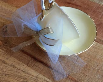 Tuscan Fine Bone China - Buttery yellow treecup with sky blue tulle accent and gold trim