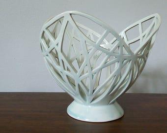 Celadon porcelain trellis fruit bowl