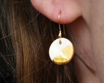 Small gold dipped porcelain earrings (shiny/matte)