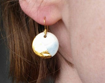 Medium gold and blue dipped porcelain earrings