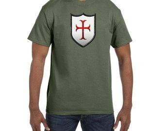 Crusader Shield Masonic Mens Crewneck T-Shirt