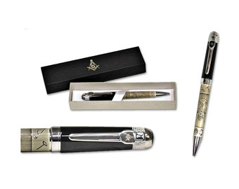 Masonic Black Ball Point Pens In Gift Case FREE ENGRAVING Masonic Gift 230