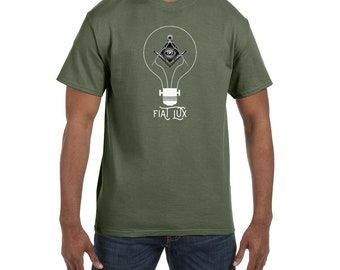 Fiat Lux Lightbulb Square and Compass Masonic Mens Crewneck T-Shirt