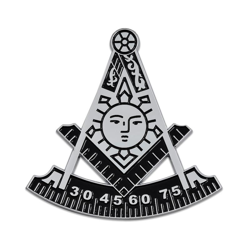 Square /& Compass Round Black /& Silver Masonic Auto Emblem 3 Diameter The Masonic Exchange TME-EMB-00019