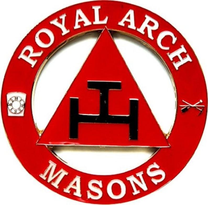 Royal Arch Masons Triple Tau Round Red Car Auto Emblem - 3