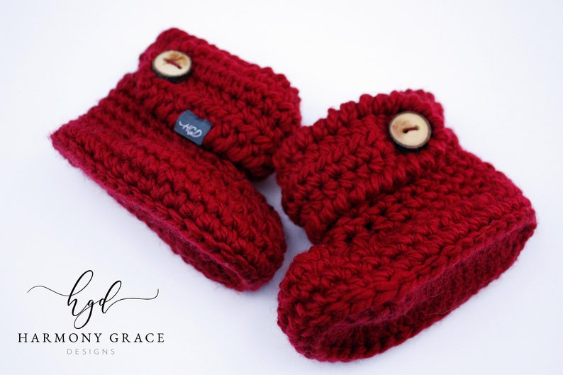 0b37b1653a1fb Size 5 Red Crochet Baby Booties - READY TO SHIP Infant Slippers Knit  Slippers Crochet Bootees Baby Shoes Booties Shower Gift Pregnancy Gift