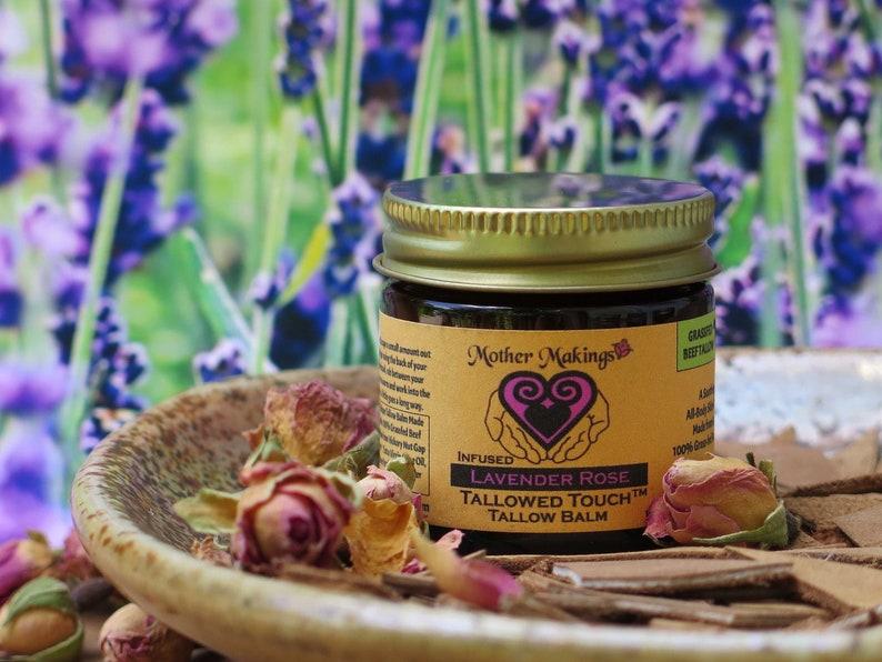 1oz Infused Lavender Rose Tallow Balm  Ancestral Skin Care image 1
