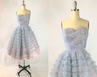 3779978d1d Vintage 1950s Prom Dress    Blue Violet Tulle Ruffled Strapless Gown     Winter Formal Dance Dress    Rockabilly Sweetheart Gown
