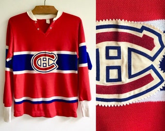 Rare 50s Montreal Canadiens Jersey    Vintage 1950s Youth Size Habs Hockey  Shirt    Blank Kids Cotton Durene NHL Memorabilia Canadiana 6d13233d9
