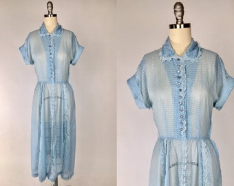 49198de318c Vintage 1950s Shirt Dress    Sheer Blue Mid Century Dress    Rockabilly Day  Dress    Preppy Housewife Mad Men Diaphanous Shirtwaist Dress