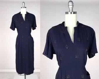 Vintage 1940s Rayon Dress    40s Studded Cocktail Dress    Volup Dress Size  Large Extra Large    Indigo Purple Evening Dress    42-36-42 40285a650