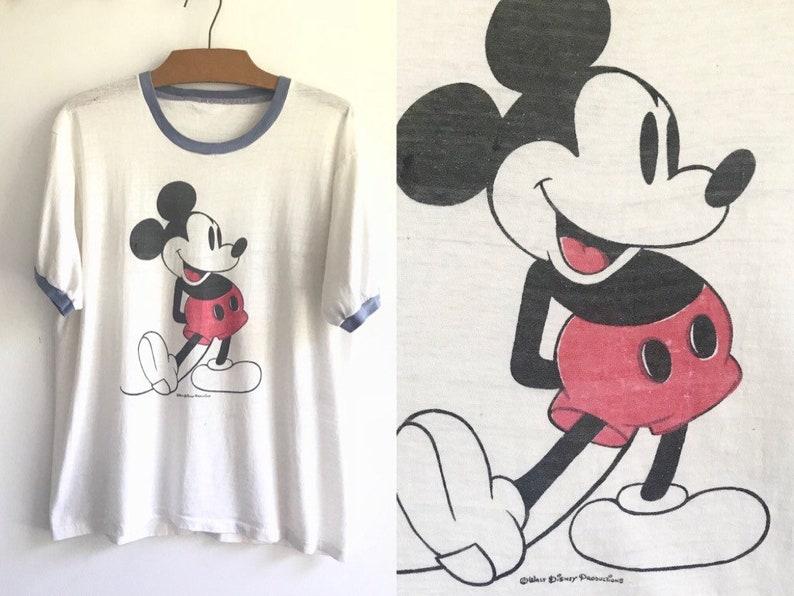 b970feaf Vintage 70s Mickey Mouse Tshirt // 1970s Walt Disney Ringer | Etsy