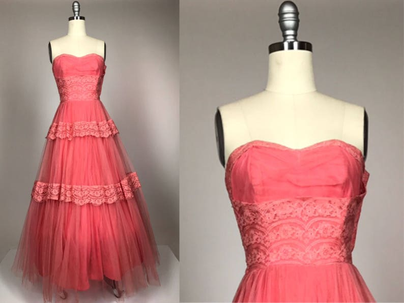 c66e27ce72 Vintage 1950s Dress    Coral Strapless Prom Evening Gown