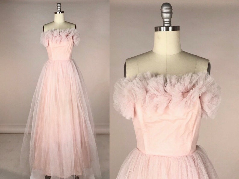 e7080ad80bf Vintage 1950s Prom Dress    Powder Pink Strapless Evening Gown