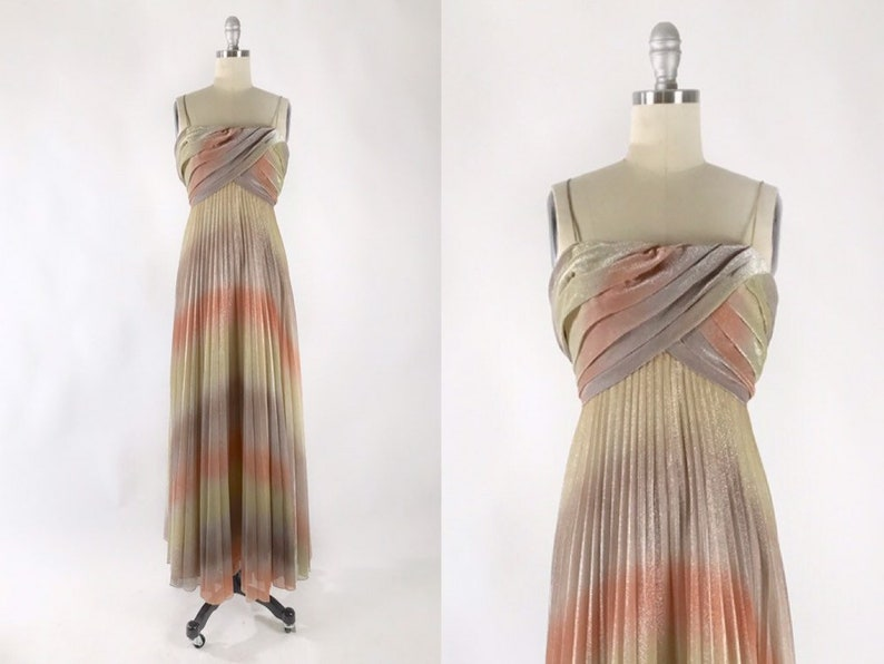 a805c7003ea6 Vintage 1970s Mike Benet Dress // Sexy Iridescent 70s Maxi // | Etsy