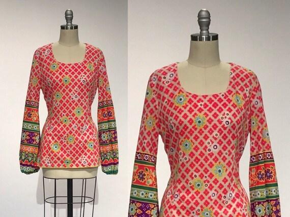 Vintage 60s Blouse // Bishop Sleeve 1960s Shirt //