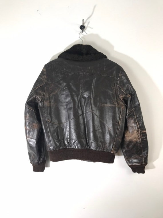 Vintage 70s Brown Leather Jacket Weathered 70s Bomber The Leather Shop Sears G 1 Style Military Flight Jacket Beat to Hell