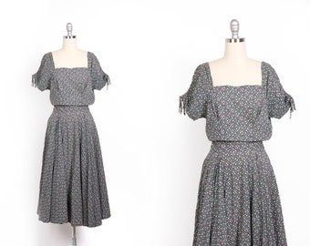 Vintage 1940s Dress // 40s Floral Day Dress // Grey Secretary Office Dress // Tall Women Clothing // Size Small