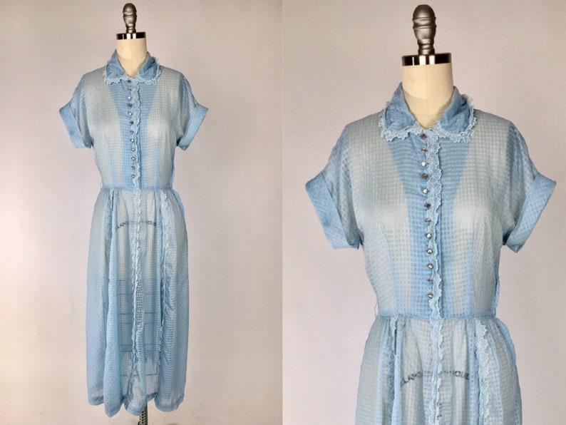 Vintage 1950s Shirt Dress  Sheer Blue Mid Century Dress  Rockabilly Day Dress  Preppy Housewife Mad Men Diaphanous Shirtwaist Dress
