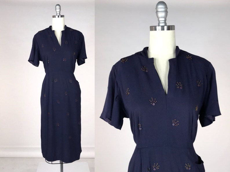 905b2a45bbb5 Vintage 1940s Rayon Dress // 40s Studded Cocktail Dress // | Etsy