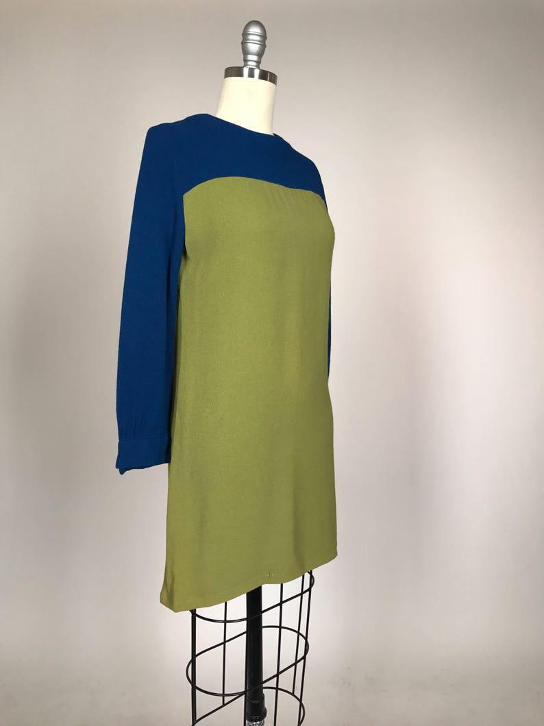 Vintage 1960s Twiggy Dress  Mod 60s Sheath  Color block Long Sleeve Mini Dress  GoGo Dancer Mad Men Era  Factory Girl Costume