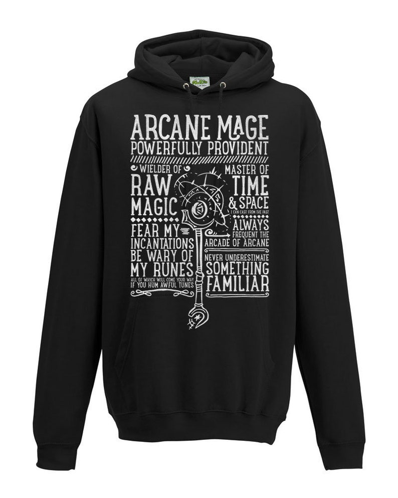 World of Warcraft / WoW inspired Hoodie - ARCANE MAGE Edition - Unisex /  Mens / Ladies / - Black