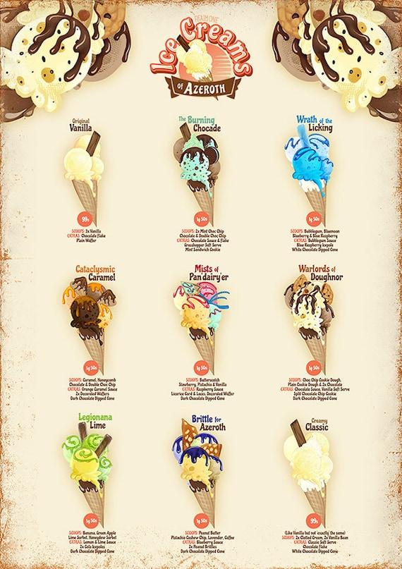 World Of Warcraft Wow Inspired A4 Art Print Ice Cream Etsy