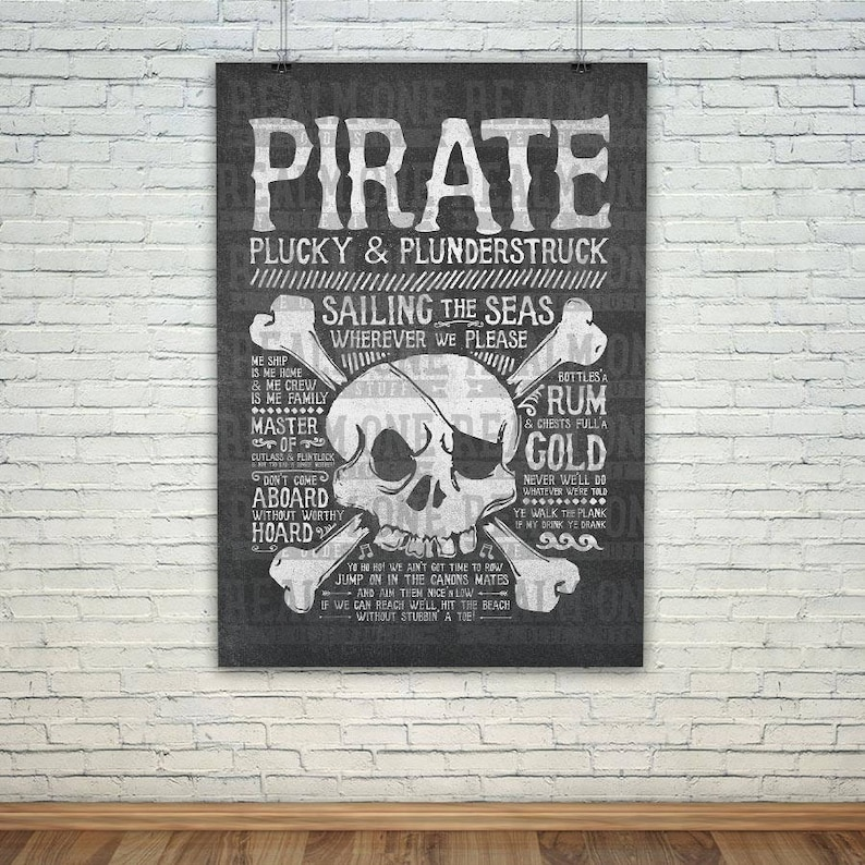 Pirate Poster Art Print Xl Pirate Collection Etsy