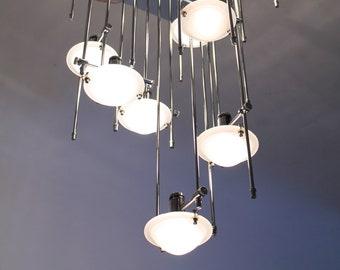 LIGHTOLIER ARCHITECTURAL interactive FLUSHMOUNT  10 halogen light with  glass shade  vintage modern 1980 era