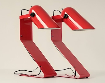 Pair of 70s  RED TABLE LAMP